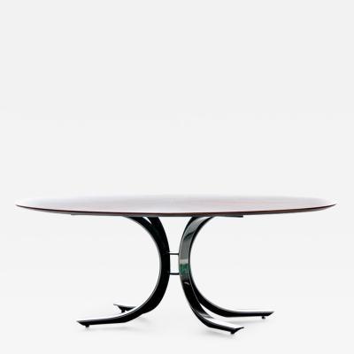 Osvaldo Borsani Osvaldo Borsani Walnut Stainless Steel Oval Dining Table c 1970s