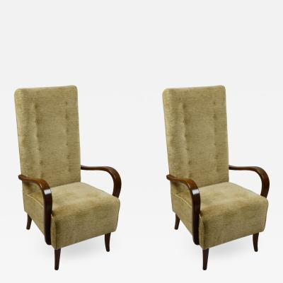 Osvaldo Borsani Osvaldo Borsani attributed Pair of Armchairs in Wood and Fabric