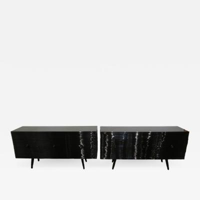 Osvaldo Borsani Pair of Black Lacquered Sideboards