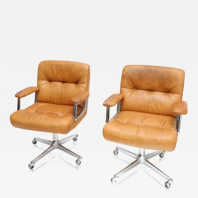 Osvaldo Borsani Pair of Cognac Leather Desk Chairs by Borsani