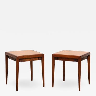 Osvaldo Borsani Pair of Mirrored Top Low Side Tables by Osvaldo Borsani