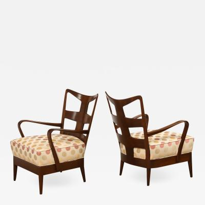 Osvaldo Borsani Rare Pair of 6575 Open Arm Chairs by Osvaldo Borsani