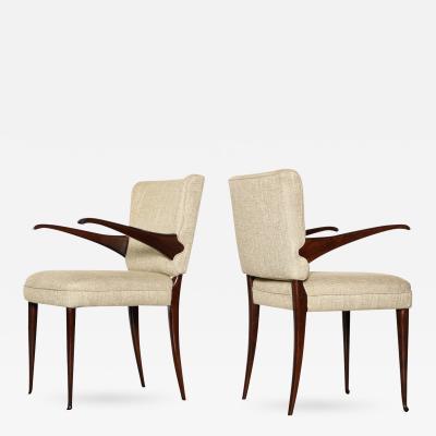 Osvaldo Borsani Rare Pair of Open Arm Chairs by Osvaldo Borsani