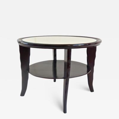 Osvaldo Borsani Round Coffee Table Mirror Top Black Laquered Two Tier Attributed to Borsani 1940