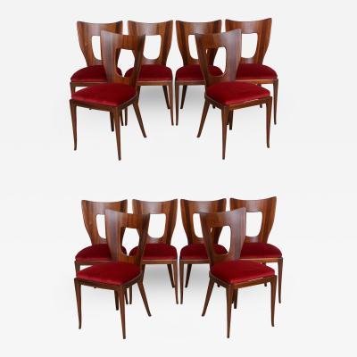 Osvaldo Borsani Set of 6 Italian Modern Walnut Dining Chairs Borsani