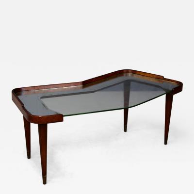 Osvaldo Borsani Side Table MidCentury by Osvaldo Borsani in walnut and mirror 1950s
