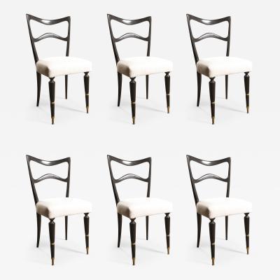 Osvaldo Borsani Stunning Osvaldo Borsani Ebonized Mahogany Dining Chairs Newly Upholstered