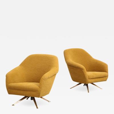 Osvaldo Borsani Swivel Lounge Chairs by Osvaldo Borsani for ABV