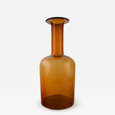 Otto Brauer Large vase bottle in orange brown arti glass
