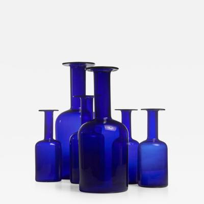 Otto Brauer Otto Brauer set of six blue glass vases for Holmegaard Denmark