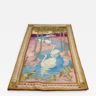 Otto Eckmann Art Nouveau Tapestry AFter Five Swans by Otto Eckmann Germany
