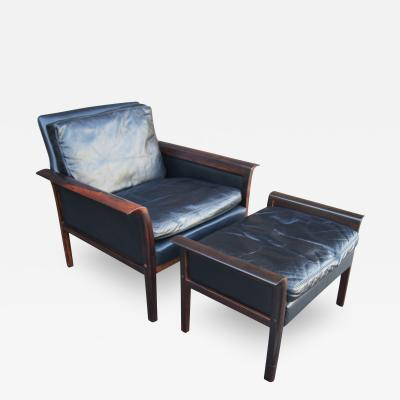 Otto Hans Olsen Rosewood Leather Lounge Chair and Ottoman by Otto Hans Olsen for Vatne M bler