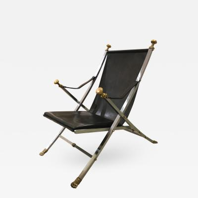 Otto Parzinger A Chic Brushed Steel Bronze and Leather Campaign Chair by Otto Parzinger