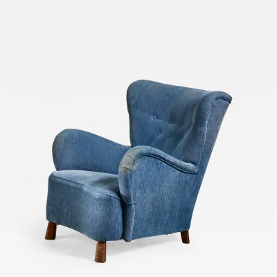 Otto Schulz Blue Otto Schulz lounge chair Sweden 1930s
