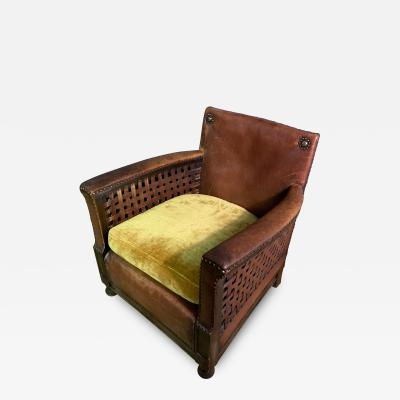 Otto Schulz Early 1940s Otto Schultz Woven Leather Club Chair Boet Sweden