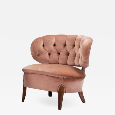 Otto Schulz Mid Century Modern Pink Velvet Easy Chair by Otto Schulz 1950s