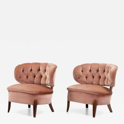 Otto Schulz Pair of Scandinavian Modern Pink Velvet Easy Chairs by Otto Schulz 1950s