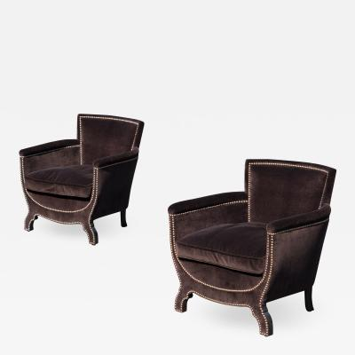 Otto Schulz Petite Art Deco Club Chairs in Espresso Velvet by Otto Schulz for Boet Pair
