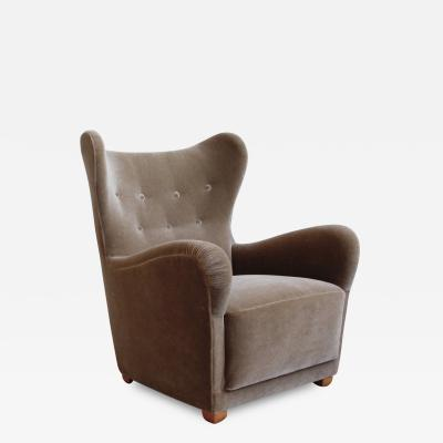 Otto Schulz Swedish Moderne Mohair Wingback Chair attributed to Otto Schulz for Boet