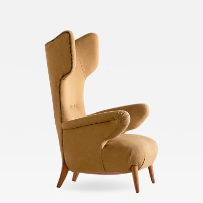 Ottorino Aloisio Important Ottorino Aloisio Wingback Chair Colli Turin Italy 1957