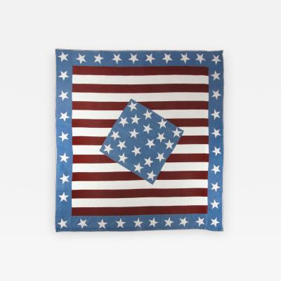 Outstanding Civil War Patriotic Quilt in a Diamond in a Square Pattern