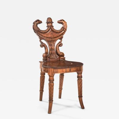 Outstanding English Regency Mahogany Hall Chair