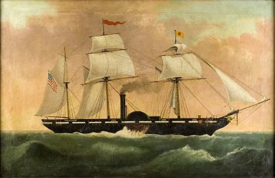 Outstanding Folk Portrait of a Sidewinder Paddlesteamer Sailing Ship