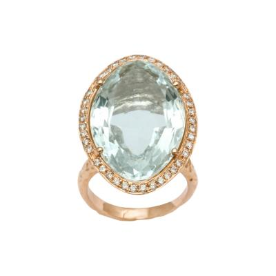 Oval Aquamarine Hand Hammered Ring