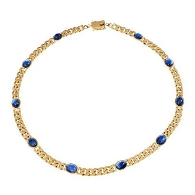 Oval Cabochon Sapphire Solid Yellow Gold Link Necklace