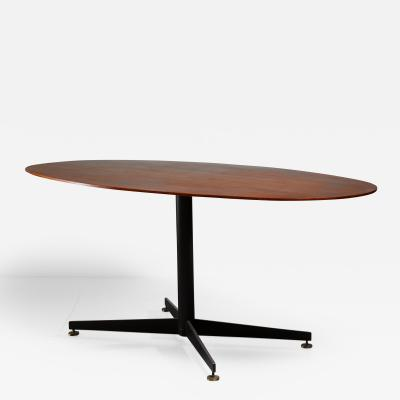 Oval Italian Dining Table with Wooden Top 1950s