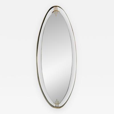 Oval Mirror with Iron Floating and Brass Style Frame Italy 1970s