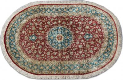 Oval Persian Qum Pure Silk Rug 86 x 120 cm