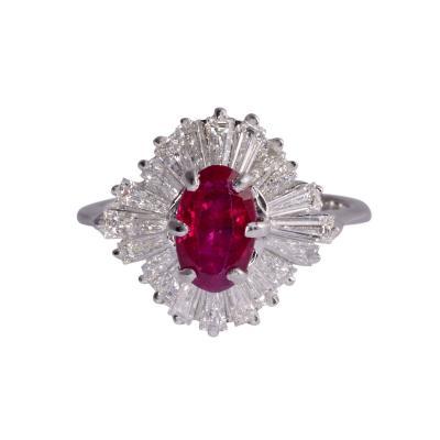 Oval Ruby Baguette Diamond Ring