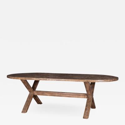 Oval Shape Oak Trestle Dining Table