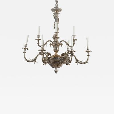 Oval Silvered Bronze Chandelier Louis XIVth Style
