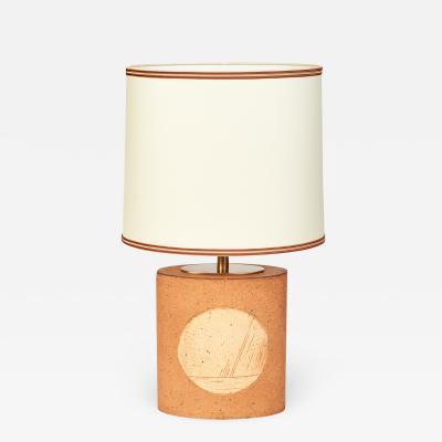 Oval Unglazed Ceramic Lamp France 1970s