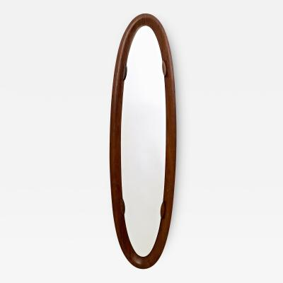 Oval Wall Mirror with a Wooden Frame Italy 1960s 1970s