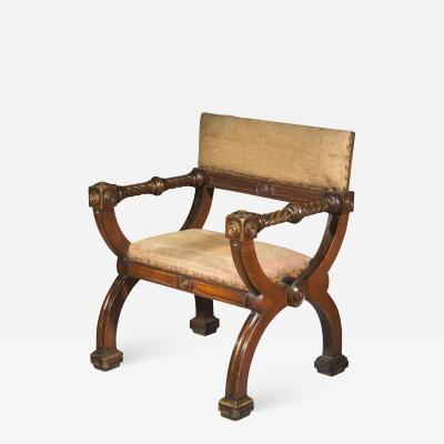 Overscale Antique Curule Desk Armchair