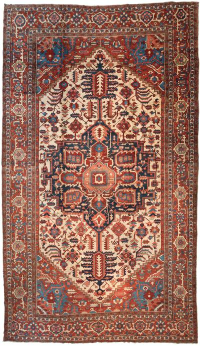 Oversize Antique Persian Serapi Rug c 1875 1880