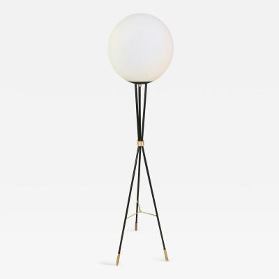 Oversize Opaline Glass Sphere on Brass Tripod Black Floor Lamp 1960s