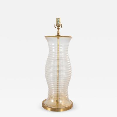 Oversized Glass Brass Table Lamp