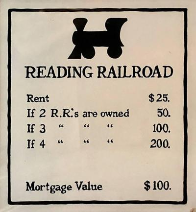 Oversized Hand Painted Monopoly Sign Reading Railroad