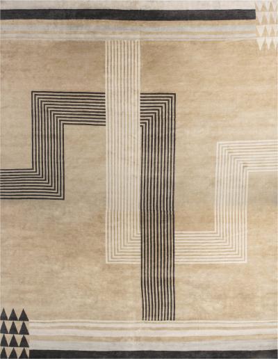 Oversized Marion Dorn Inspired Deco Geometric Rug
