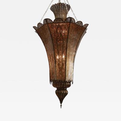 Oversized Moroccan Moorish Pierce Brass Chandelier