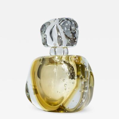 Oversized Murano Blown Citron Perfume Bottle Contemporary