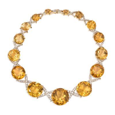 Oversized Retro Graduated Citrine and Diamond X Form Necklace