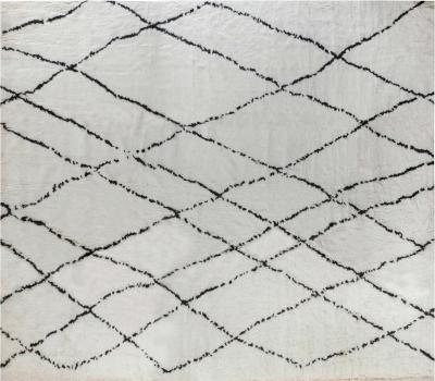 Oversized Tribal Style Modern Moroccan Rug in White and Black