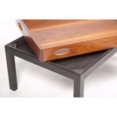 Oversized Walnut Butlers Tray Mid Century Modern on Custom Painted Pine Base