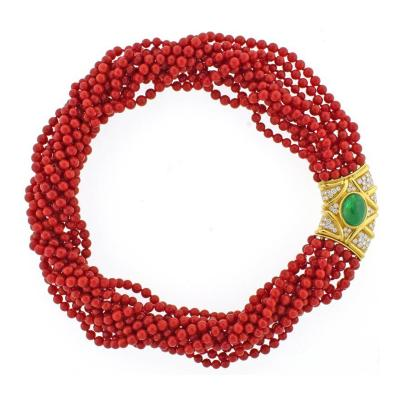 Ox Blood Coral Diamond Emerald Necklace