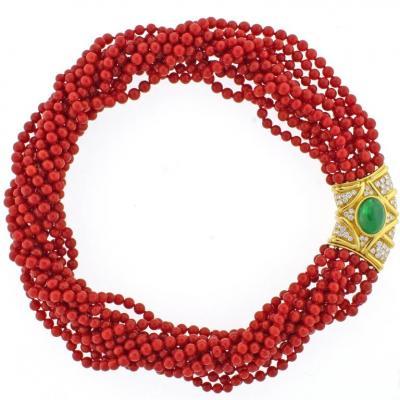 Ox Blood Coral Diamond Emerald Necklace